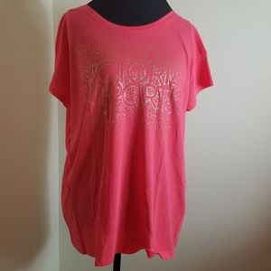VS Sport Peach Short Sleeve Scoopback Sparkle Top